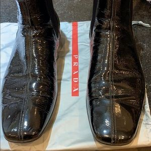 PRADA Men's Black Leather Chelsea Boots